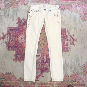 Free People Studded Bleached Skinny Jeans 27
